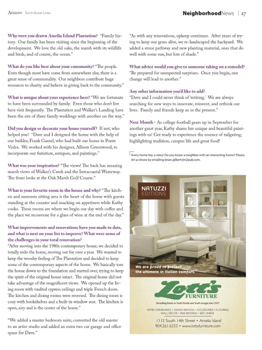 South Island Living Amelia Island Plantation article on Kathy and Dave Miller photos by Susan Scarborough