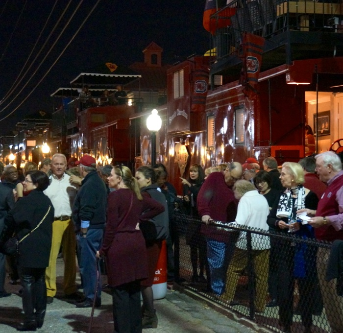 South Carolina fans leaving Cockaboose Railroad tailgate ready for the big game photo by Kathy Miller