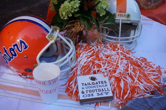Tennessee and Gator helmets with Tailgating napkins