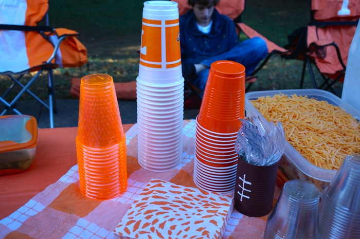Cups at tailgate Joy thinks of everything photo by Kathy Miller