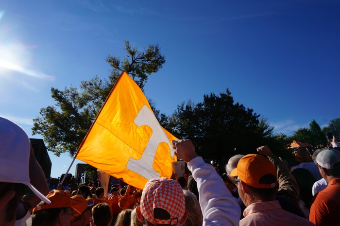 Vol Walk with the Power T flag photo by Kathy Miller