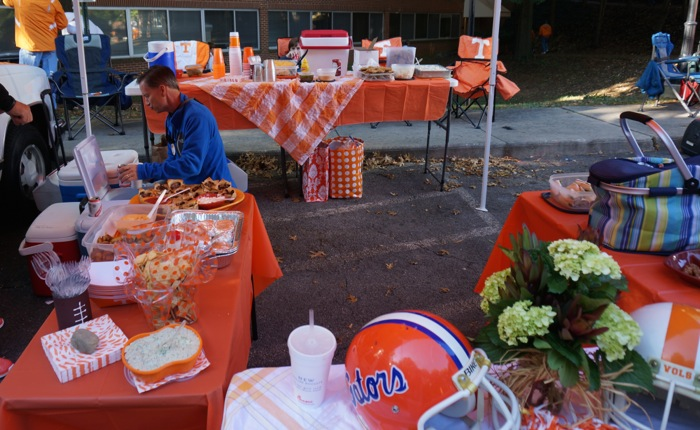 Tennessee Tailgate getting ready for Vol Walk photo by Kathy Miller