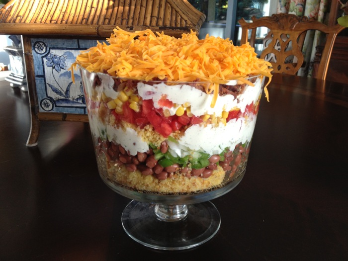Layered cornbread salad in trifle bowl photo by Joy McCabe