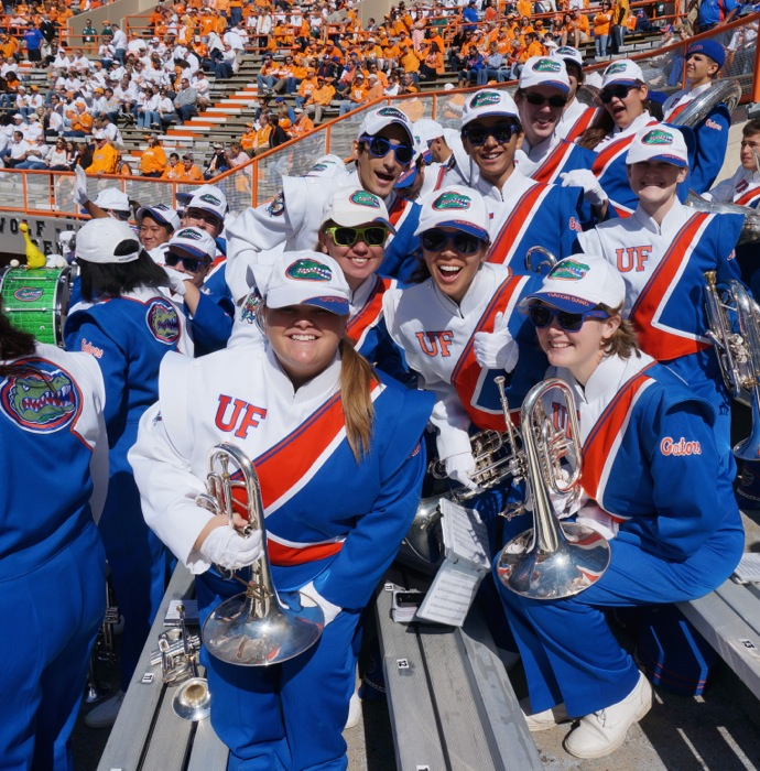 Gator band members enjoy pregame photo by Kathy Miller