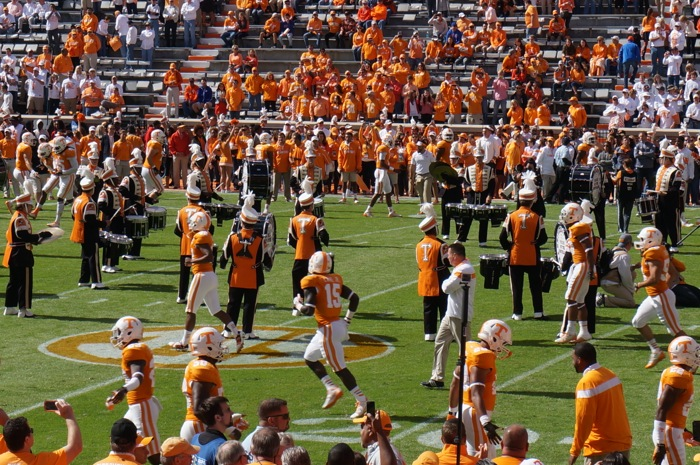 Pregame warmup drill with Pride of the Southland's drum line and Tennessee players, Circle of Life Drill photo by Kathy Miller