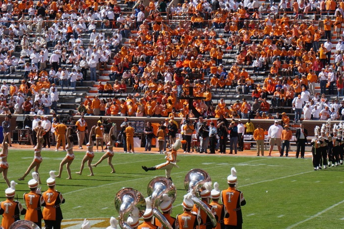 Tennessee's Pride of the Southland Marching Band and Pregame show with Drum Major photo by Kathy Miller