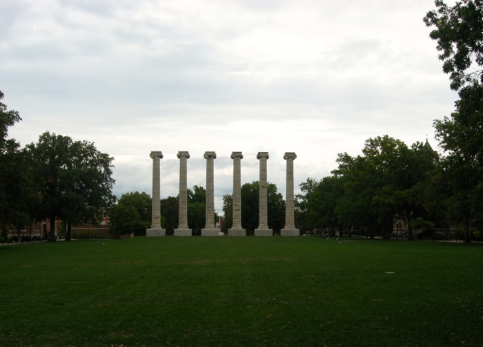 The Columns in perspective to Jesse Hall photo by Kathy Miller