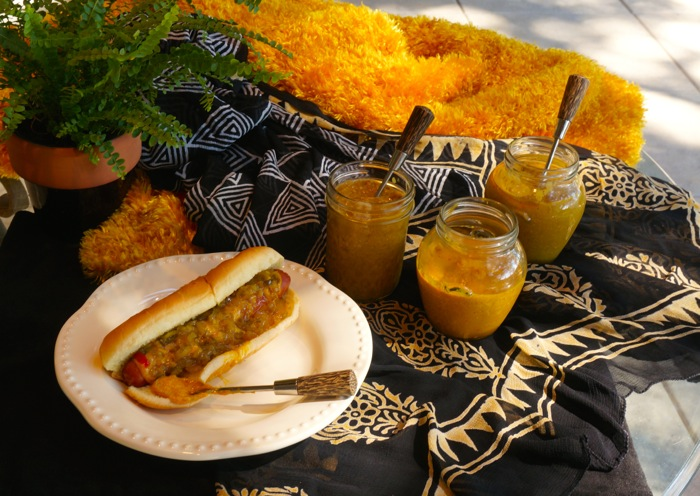 Hotdogs with homemade yellow mustard photo by Kathy Miller