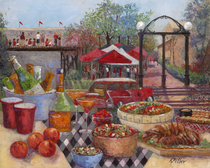 Tailgating Under The Arch , Georgia painting by Kathy Miller