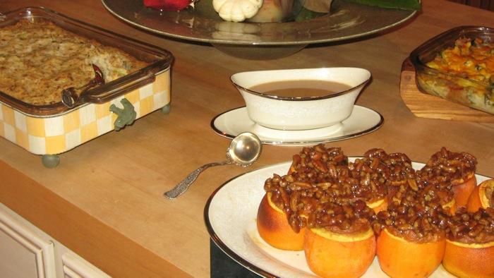 Uhlma's Potato Stuffing with Gravy and Sweet Potato Stuffed Oranges photo by Kathy Miller