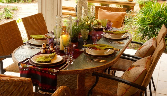 Thanksgiving tablescape on the marsh photo by Kathy Miller