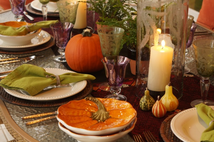 Thanksgiving tablescape with pumpkin soup bowls photo by Kathy Miller