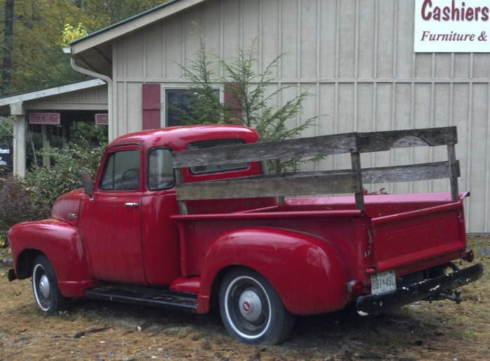 red truck in Cashiers photo by Kathy Miller