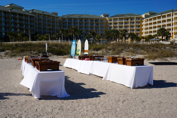 Beach Party setup for Iowa Hawkeyes players and family photo by Kathy Miller