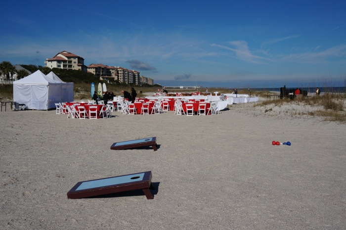 Beach party setup for Iowa players and family at Omni on Amelia Island photo by Kathy Miller