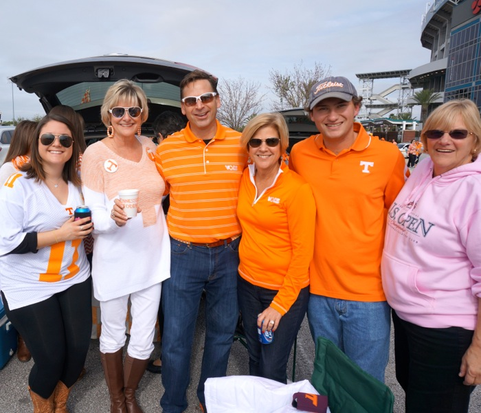 Amanda, John and Darcy Lyberger enjoying Tennessee tailgate photo by Kathy Miller