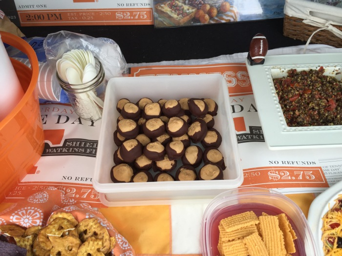 Tennessee/Iowa tailgate with buckeye candy and Lillian's wonderful cheese straws photo by Kathy Miller