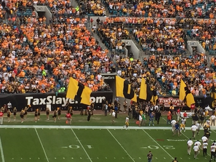 Iowa takes the field photo by Kathy Miller