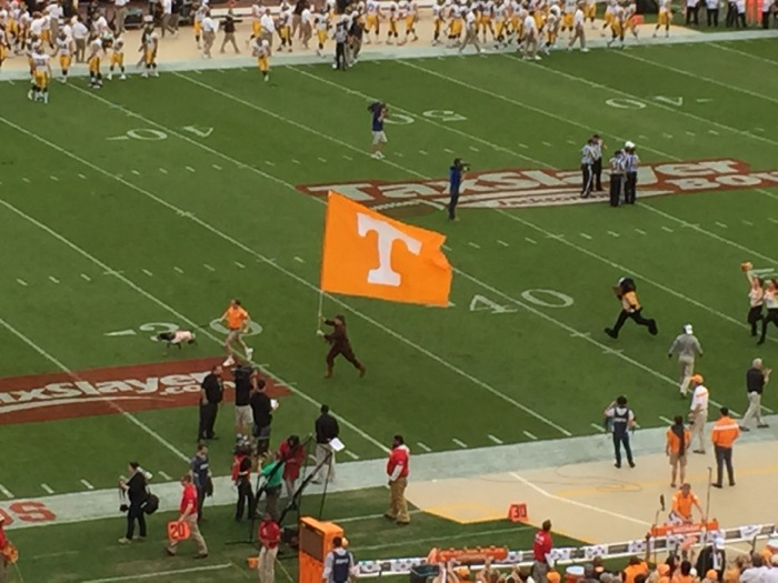 Tennessee led by Smokey storm the field photo by Kathy Miller