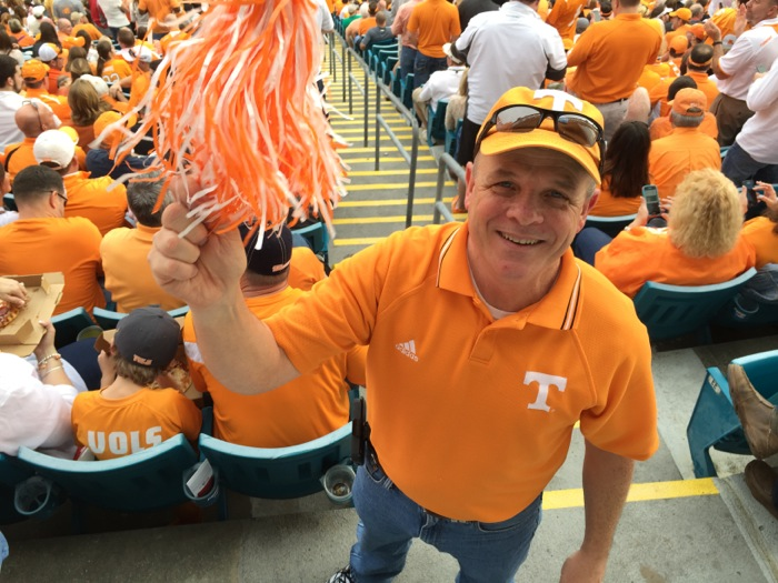Tennessee fan Joe Lawson celebrates photo by Kathy Miller
