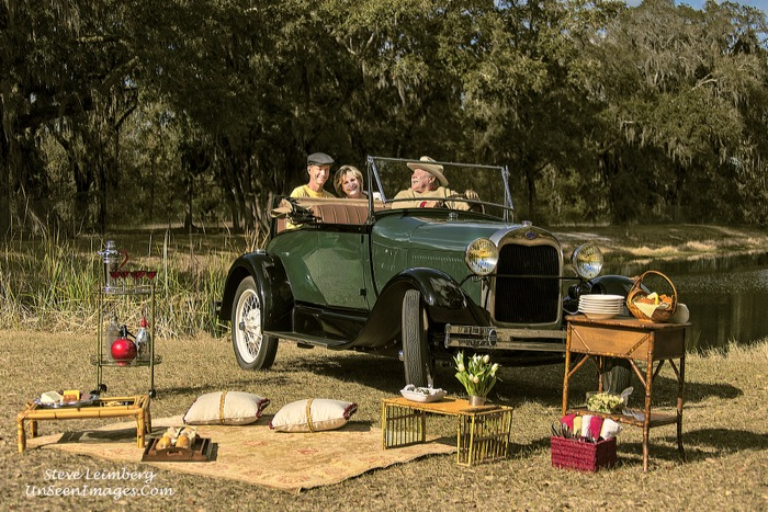 Kathy & Dave Miller with driver, Mike Broucke on a fun picnic in a Model A Roadster photo by Steve Leimberg, Unseen Images, styling by Kathy Miller