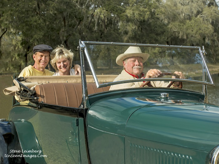 Kathy and Dave Miller and Driver Mike in rumble seat photo by Steve Leimberg, Unseen Images