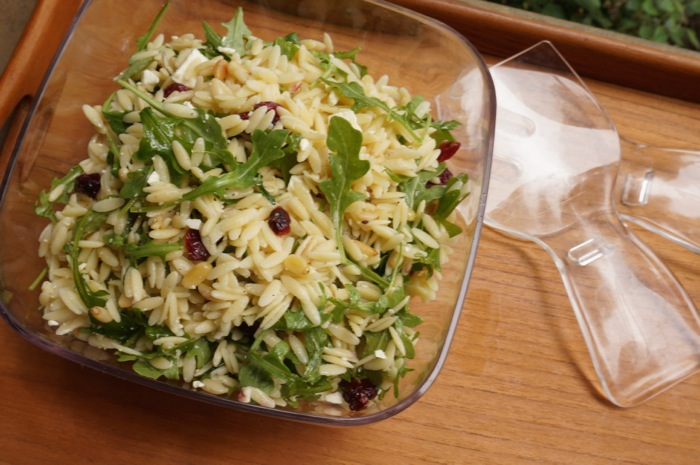 Orzo Salad with Dried Cranberries, Feta Cheese, Pine Nuts and Arugula photo by Kathy Miller