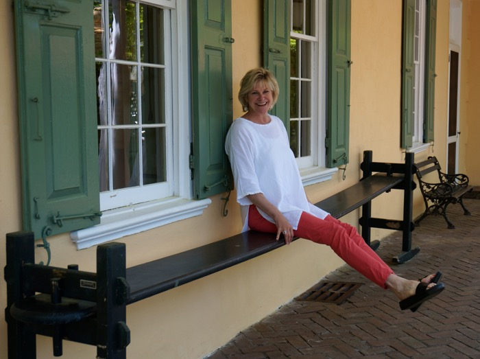 Kathy Miller tests a joggling board at The Thomas Rose House, Charleston, SC photo by Kathy Miller