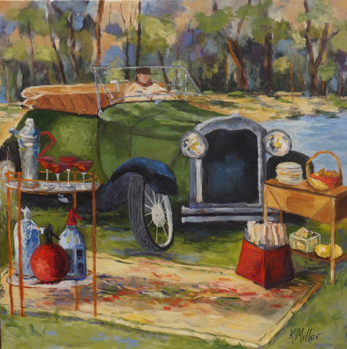 A Vintage Picnic With a Classic Model A painting by Kathy Miller