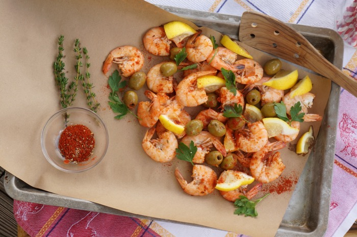 Shrimp boil with green olives and lemon photo by Kathy Miller