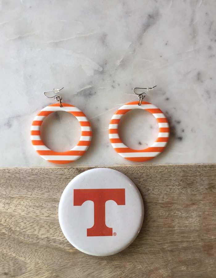 The power T button (plays Rocky Top) and my signature earrings photo by Kathy Miller