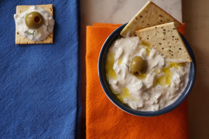 Tzatziki with olive oil photo by Kathy Miller
