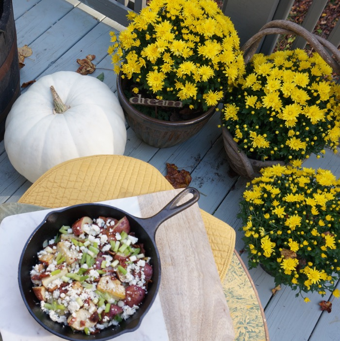 Fall mums, white pumpkin, and Red Potato Salad with Crispy Bacon Dressing In a Skillet