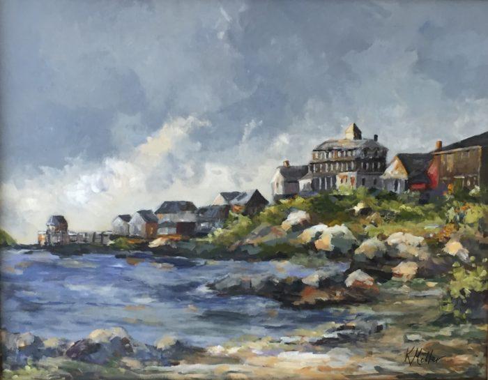 "Monhegan Island Harbor Painting Acrylic on Canvas 22""x28"" Original by Kathy Miller"