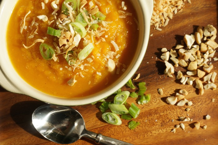 Roasted Butternut Squash Soup with Curry and Apples photo by Kathy Miller