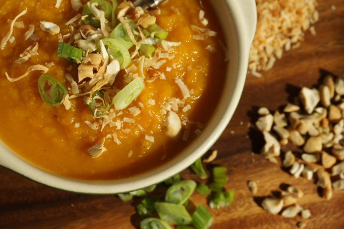 Roasted Butternut Squash Soup with Curry and special toppings photo by Kathy Miller