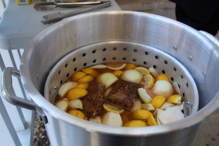 Potatoes, lemons, onions and sausage for Low Country Boil photo by KathyMillerTime