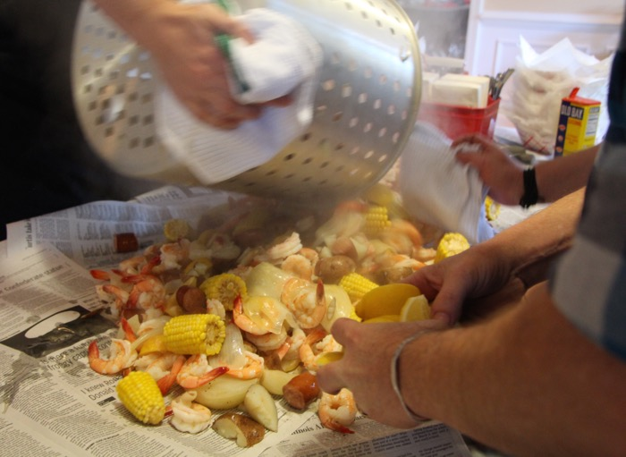 Low Country Boil ready for the newspapers. photo by KathyMillerTime