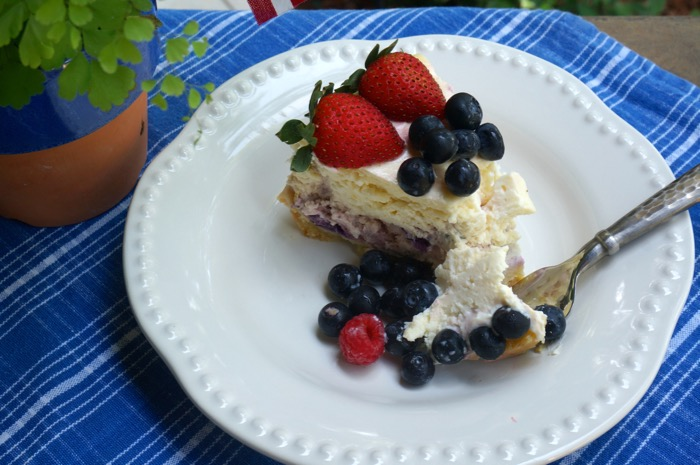 slice of blueberry and strawberry cheesecake photo by Kathy Miller