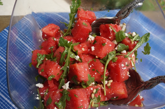 Watermelon salad with white stilton and ginger cheese crumbels photo by Kathy Miller