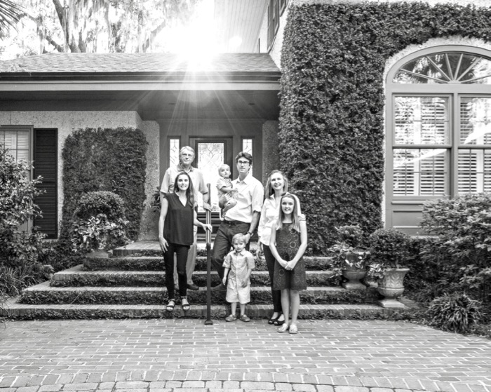 Jim and Nan Sands home with family in black and white photo by Susan Scarborough