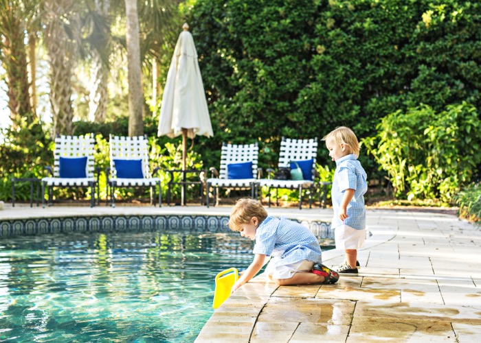 Bowen and Bennet enjoy living on the marsh and the swimming pool photo by Susan Scarborough