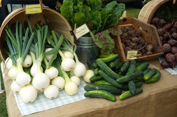 Onions and Cucumbers at the Farmers Market in Dorset Vermont photo by Kathy Miller