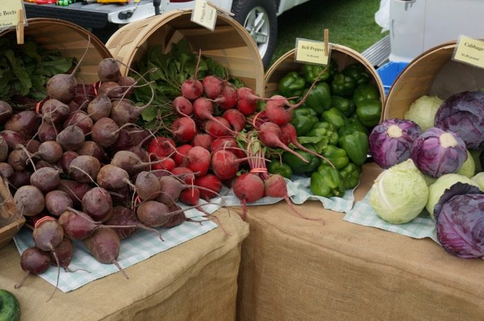 Beets and peppers at the Dorset Farmers Market photo by Kathy Miller
