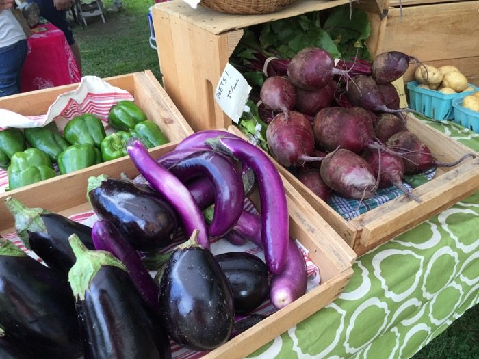 Eggplant and peppers Dorset Farmers Market photo by Kathy Miller