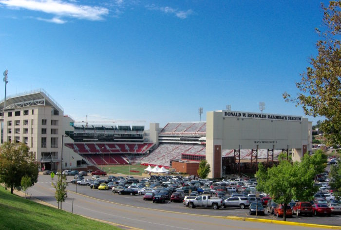Arkansa Razorback Stadium and The Pit Tailgating spot photo by Kathy Miller