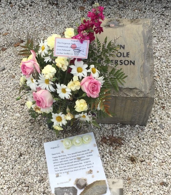 Erin Peterson's memorial stone at Va Tech memorial photo by Kathy Miller