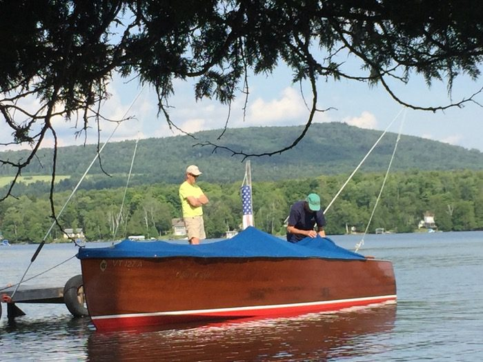 Getting the old Chris-Craft ready to boat photo by Kathy Miller