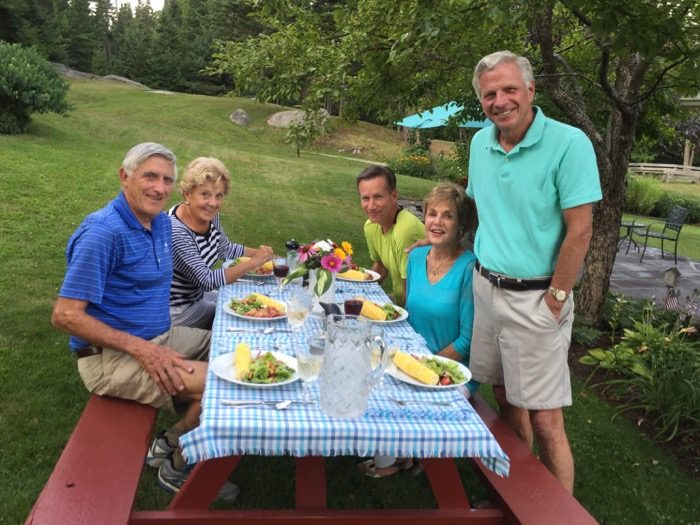 The Kolar gathering at dinnertime photo by Kathy Miller