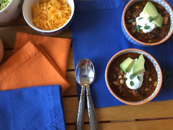 Woo-Hoo chili with dollop of sour cream and avocados photo by Kathy Miller